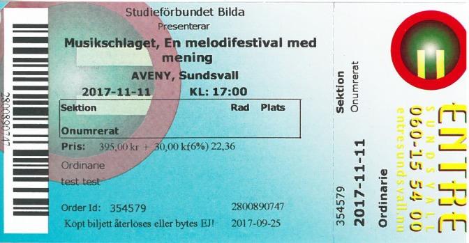 Biljetter till Musikschlagets riksfinal 2017